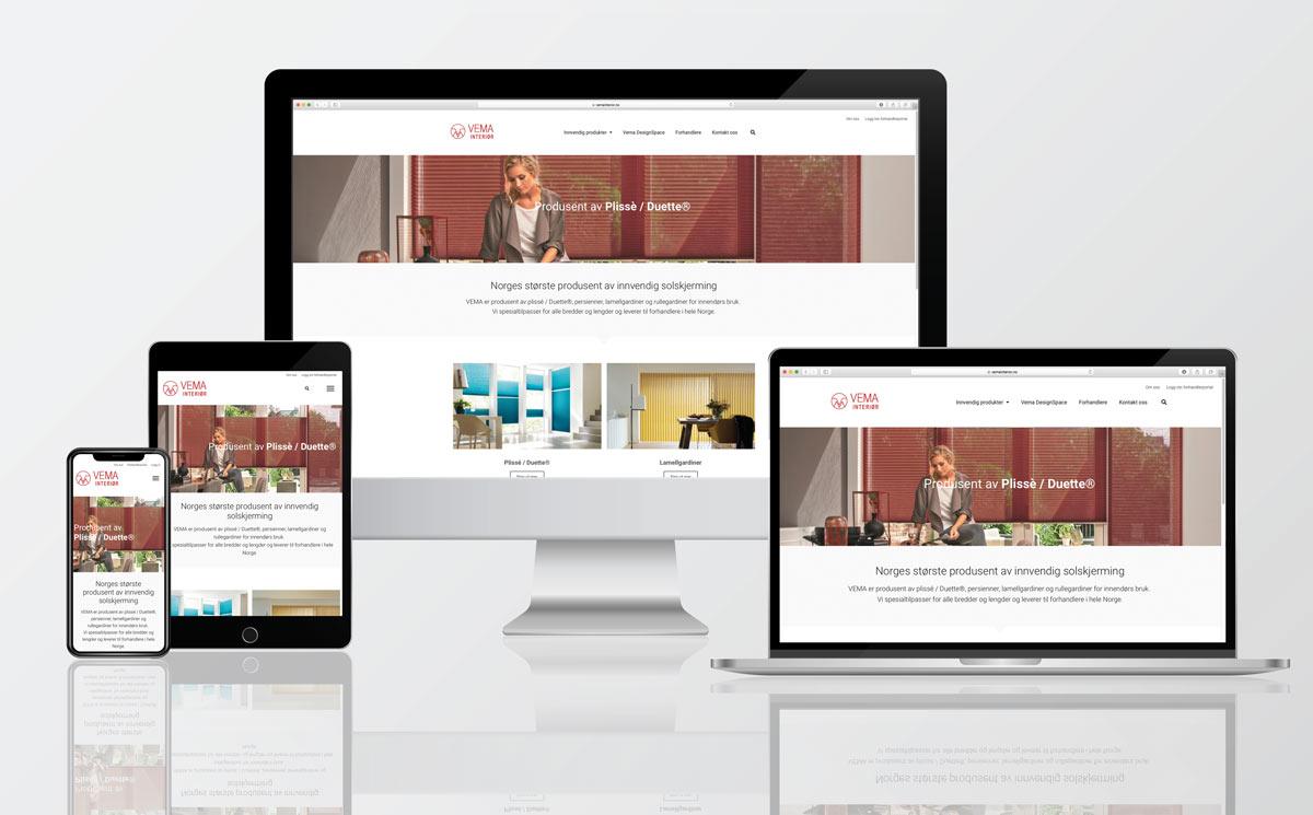 Ny hjemmeside med responsivt design for Vema Interiør - Produkter