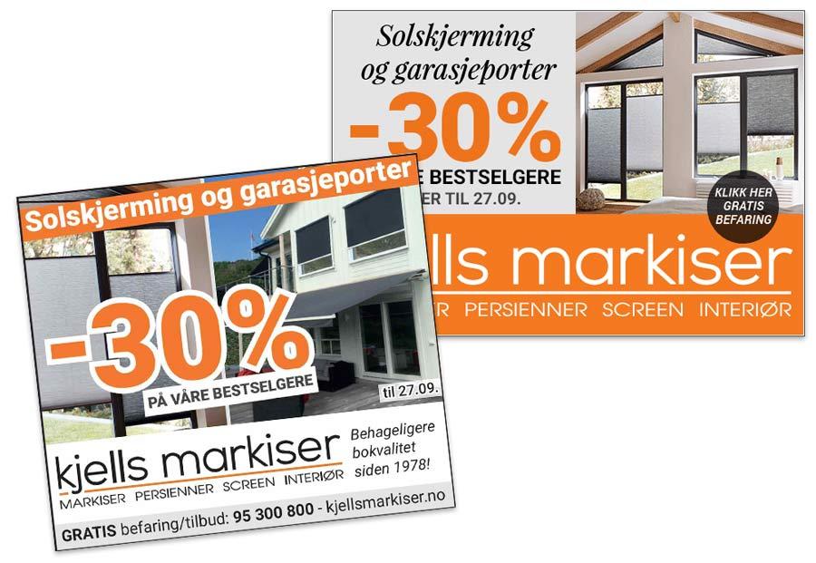 Markedsmateriell for Kjells markiser