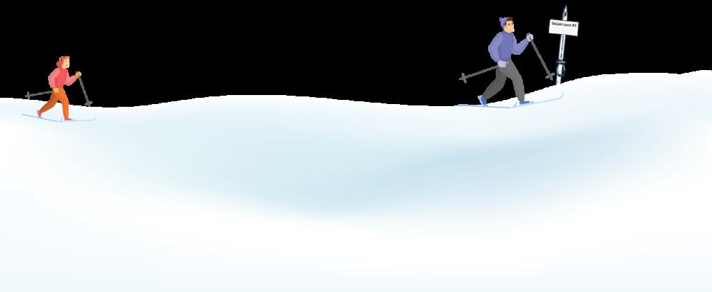 Skijakten 2020 / 2021 - to skiløpere på vei til post i skiløypa på Gjøvik og Toten